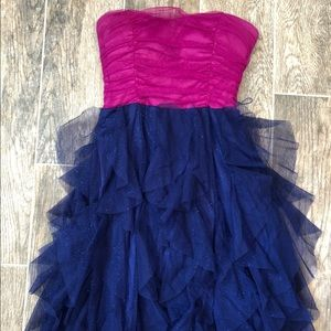 Pink and Blue Ruffled Party Dress